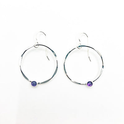 Sterling Baby Orbit Earrings with Amethyst by Judie Raiford