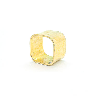 side view of 14k Gold Square Stovepipe Ring by Judie Raiford in size 9
