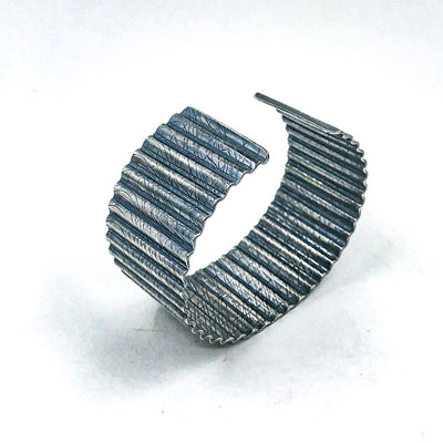 Oxidized Sterling Corrugated Cuff with Cheesecloth Texture