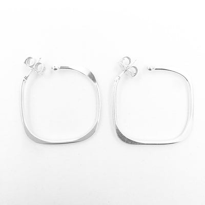 Sterling Square Forged Hoop Earrings