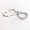 side angle view of Sterling Heart Keyring by Judie Raiford