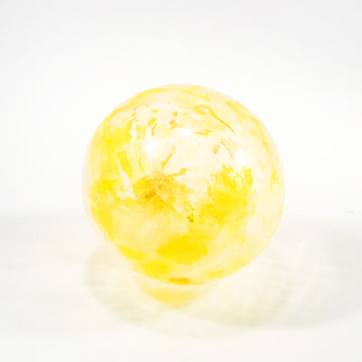 bottom side view of Yellow Glass Ornament by Neal Drobnis