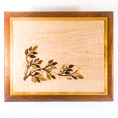 over top view of Jewelry Box with Inlay Flowers, Leaves, and Vine by Vic Lehner