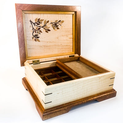 front angle with lid open view of Jewelry Box with Inlay Flowers, Leaves, and Vine by Vic Lehner