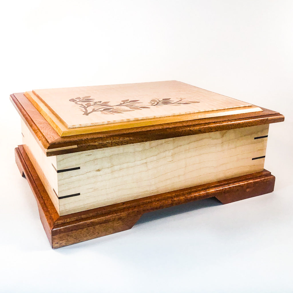 front angle view of Jewelry Box with Inlay Flowers, Leaves, and Vine by Vic Lehner