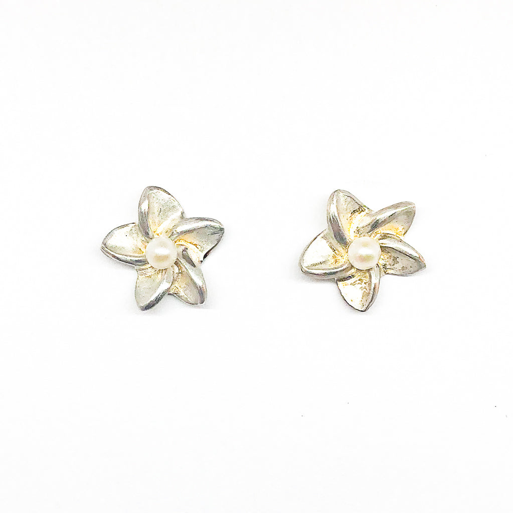 Small Plumeria Post Earrings made with sterling silver, white pearl by Betsy Frost
