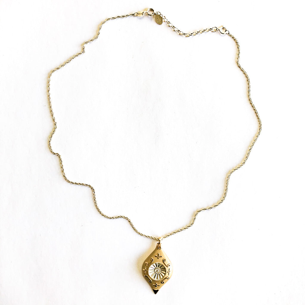 14k Gold Fill Vintage Ornament Necklace with Cubic Zirconia by Betsy Frost