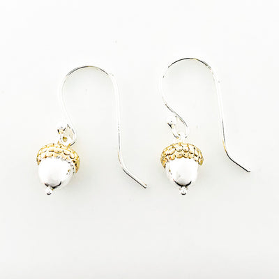 Sterling Acorn with Gold Cap Earrings