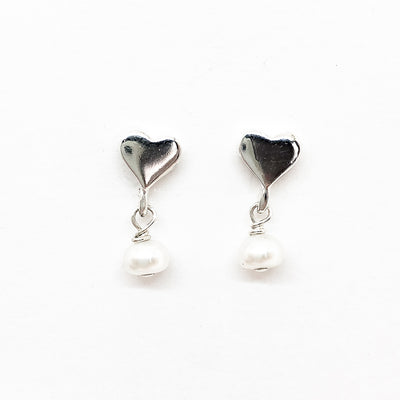 Sweetheart Post Earrings with Freshwater Pearls by Betsy Frost