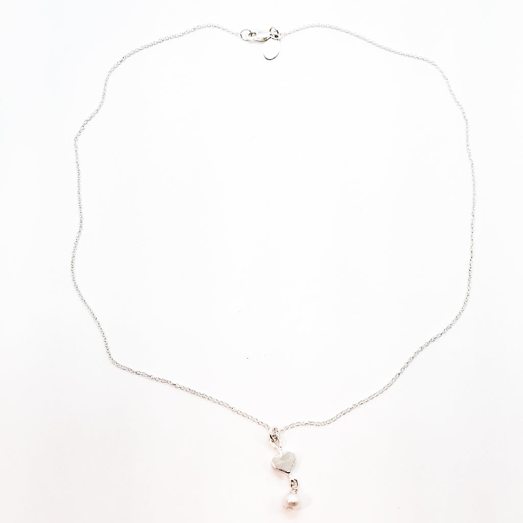 sterling Sweetheart Necklace with Freshwater Pearl by Betsy Frost