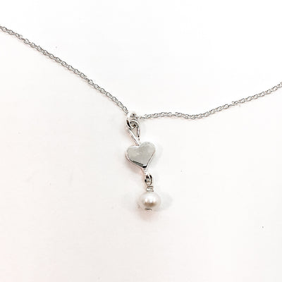 detail view of sterling Sweetheart Necklace with Freshwater Pearl by Betsy Frost
