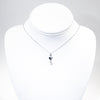 sterling Sweetheart Necklace with Freshwater Pearl by Betsy Frost hanging on white display bust
