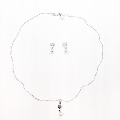 sterling Sweetheart Necklace and Earrings with Freshwater Pearls by Betsy Frost