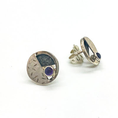 side angle view of sterling silver, oxidized sterling, Amethyst Circle Co Post Earrings by Donna Burdic