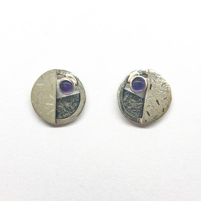 sterling silver, oxidized sterling, Amethyst Circle Co Post Earrings by Donna Burdic