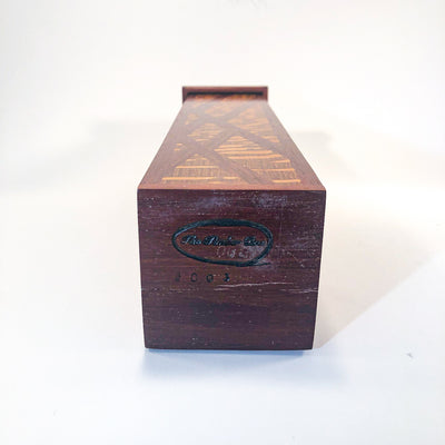 artist mark view of Matchstick Box with Purple Heart, Lacewood and Ebony by Kevin Dugan