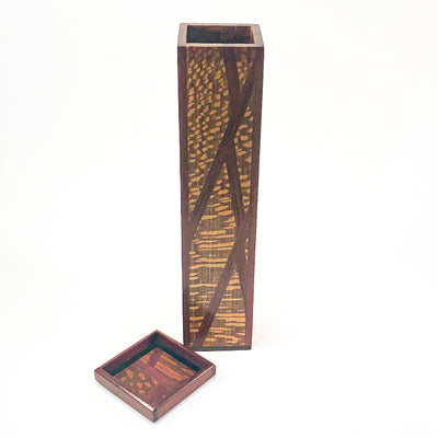 lid off view of Matchstick Box with Purple Heart, Lacewood and Ebony by Kevin Dugan