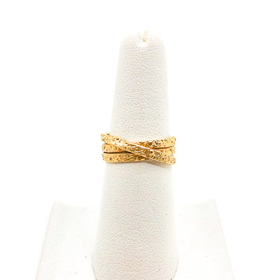 size 6.75 Gold Filled Trinity Ring by Donna Burdic on white ring display stand
