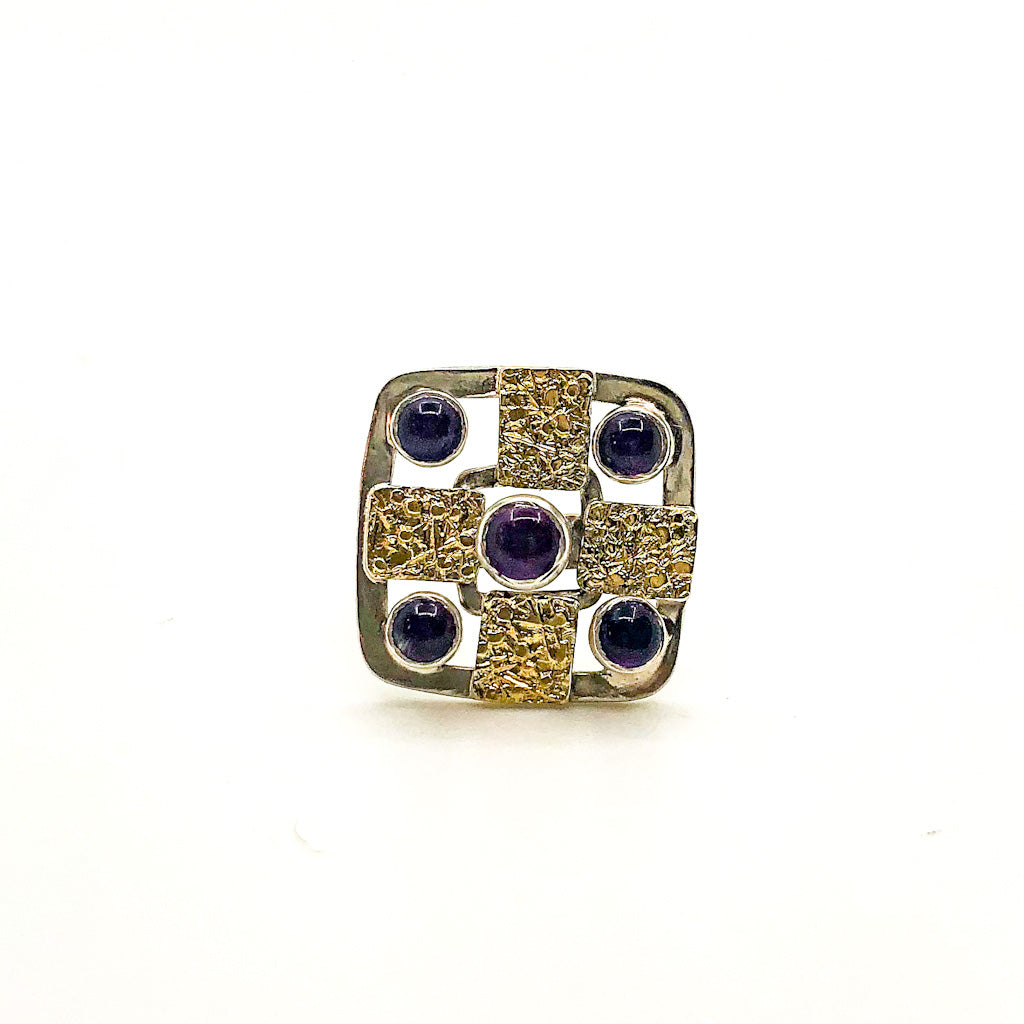 size 7 Square Five Amethyst Ring by Donna Burdic