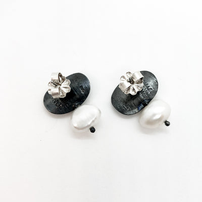 back view of oxidized sterling Oval with Pearl Post Earrings by Donna Burdic