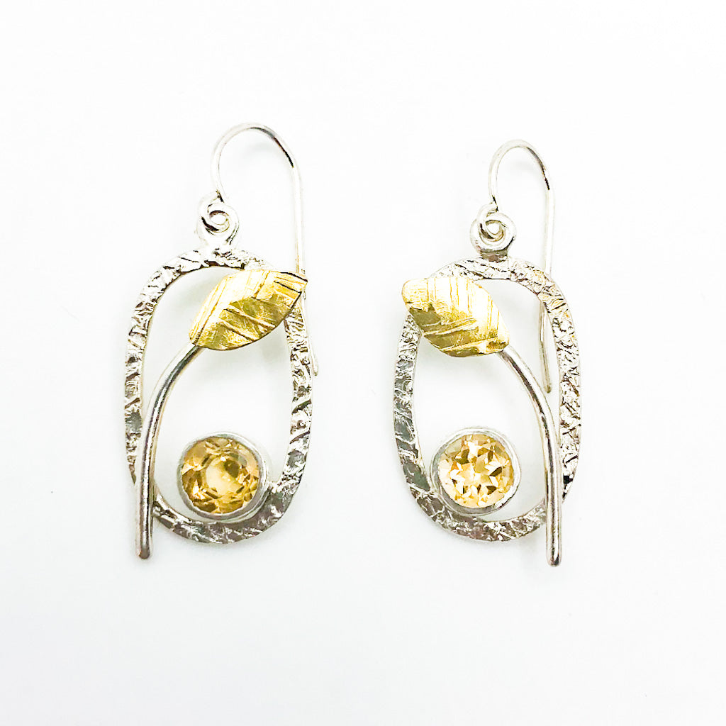 Sterling and 22k Citrine Small Oval Leaf Hook Earrings by Donna Burdic