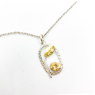Sterling and 22k Citrine Small Oval Necklace