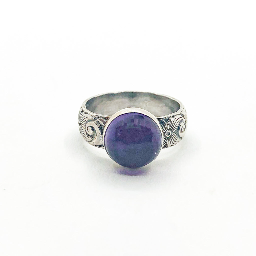 size 7.75 Oxidized Sterling Crown Ring with Amethyst by Berlin Randall