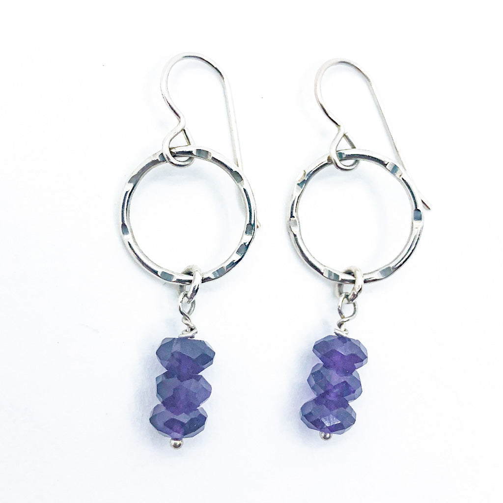 Sterling Circle Drop Earrings with Amethyst by Berlin Randall