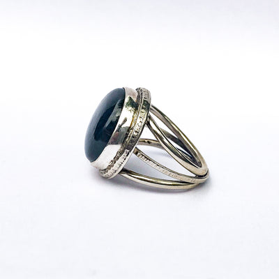 left side view of size 9 Labradorite Ring by Berlin Randall