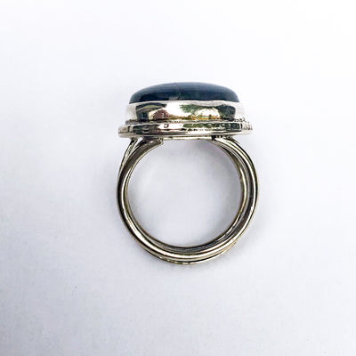 over top view of size 9 Labradorite Ring by Berlin Randall