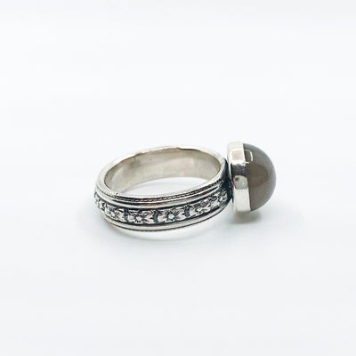 right side view of size 6 Sterling Gray Moonstone Ring by Berlin Randall