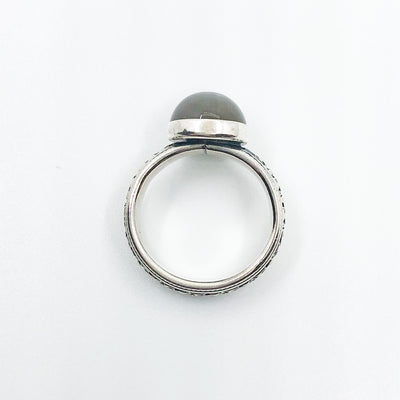 over top view of size 6 Sterling Gray Moonstone Ring by Berlin Randall