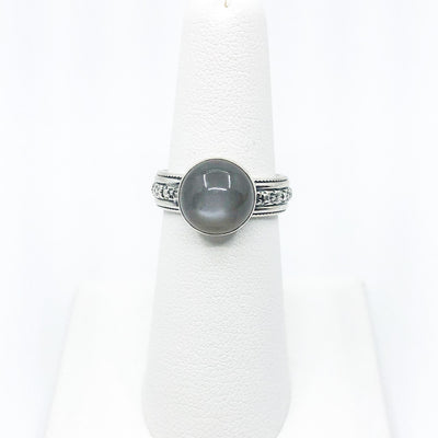 size 6 Sterling Gray Moonstone Ring by Berlin Randall on white ring display stand