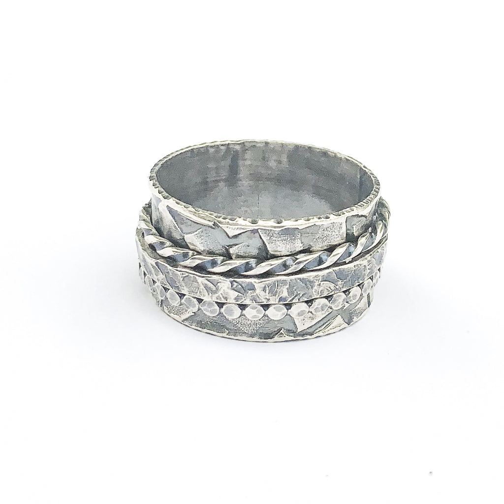 Oxidized Sterling Twiddle Ring