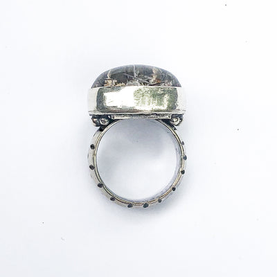 overhead view of Sterling Lodalite Quartz Ring by Berlin Randall