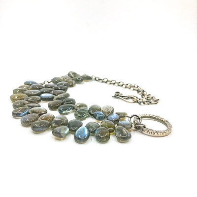 side angle view of Oxidized Sterling Labradorite Bead Necklace with Textured Circle Pendant