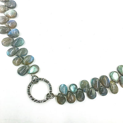 detail view of Oxidized Sterling Labradorite Bead Necklace with Textured Circle Pendant
