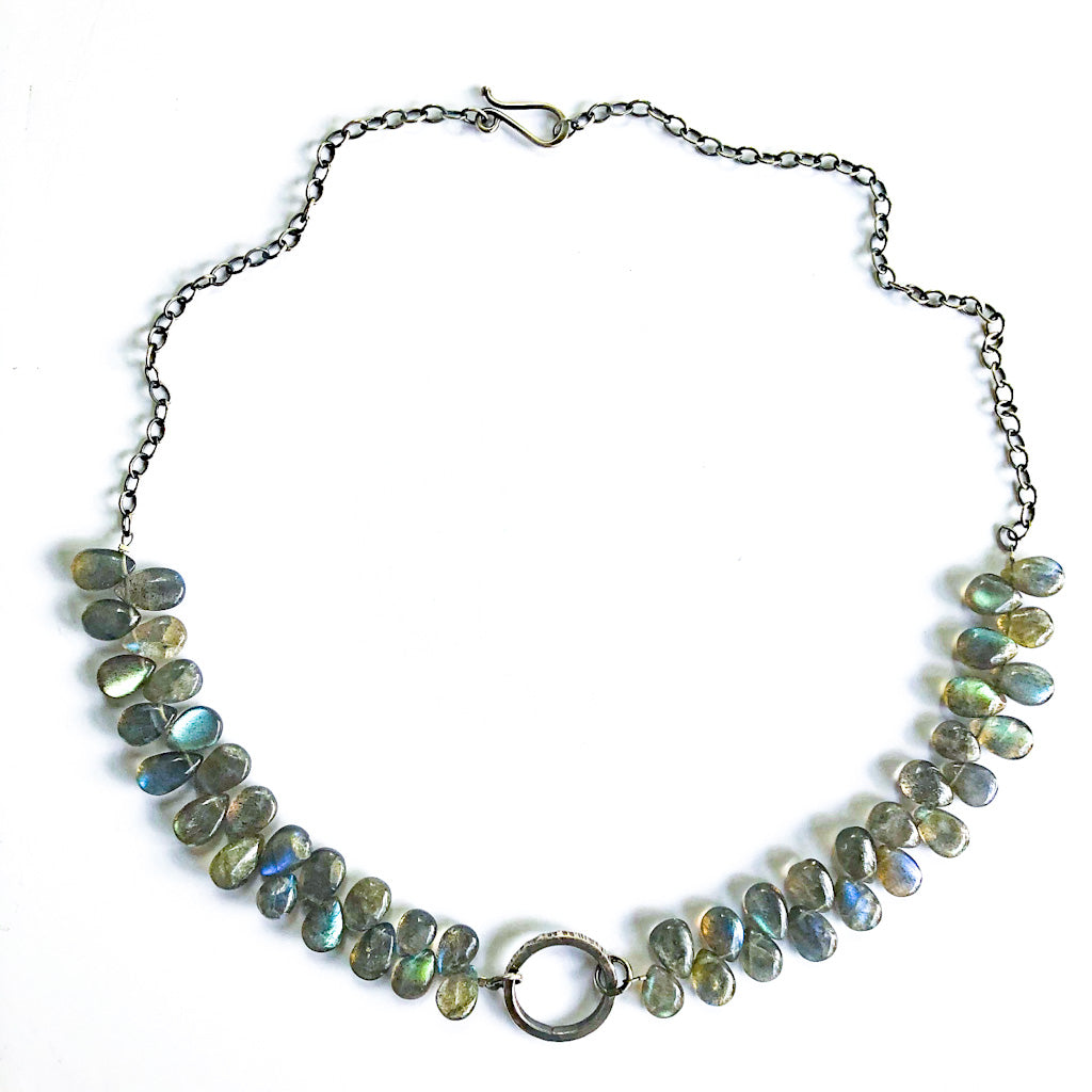 Oxidized Sterling Labradorite Bead Necklace with Textured Circle Pendant by Berlin Randall