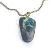 detail view of Oxidized Sterling Necklace with Azurite Chrysocolla Pendant by Berlin Randall