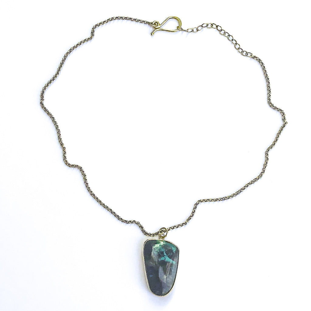 Oxidized Sterling Necklace with Azurite Chrysocolla Pendant by Berlin Randall