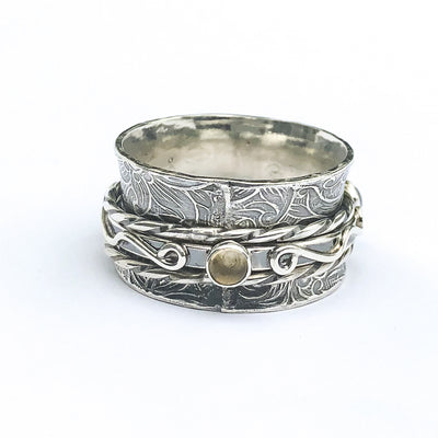 side view of Sterling Twiddle Stoned Ring by Berlin Randall