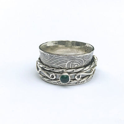 alt side view of Sterling Twiddle Stoned Ring by Berlin Randall