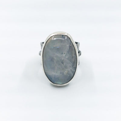 size 7.5 Sterling Oval Rainbow Moonstone Ring by Berlin Randall