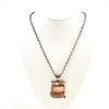 Sterling Cherry Quartz Mandala Necklace by Berlin Randall on white mannequin display bust