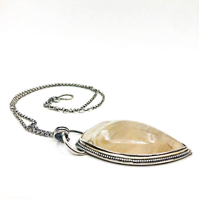side angle view of White Moss Agate Necklace by Berlin Randall