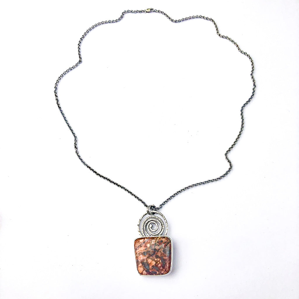 Oxidixed Sterling Fantasy Jasper and Citrine Necklace by Berlin Randall