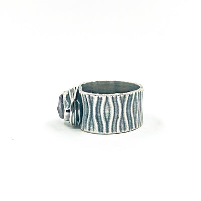 left side view of size 8 Oxidized Sterling Natural Surface Tourmaline Ring by Berlin Randall