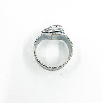 over top view of size 8 Oxidized Sterling Natural Surface Tourmaline Ring by Berlin Randall