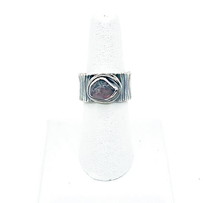 size 8 Oxidized Sterling Natural Surface Tourmaline Ring by Berlin Randall on white ring display stand