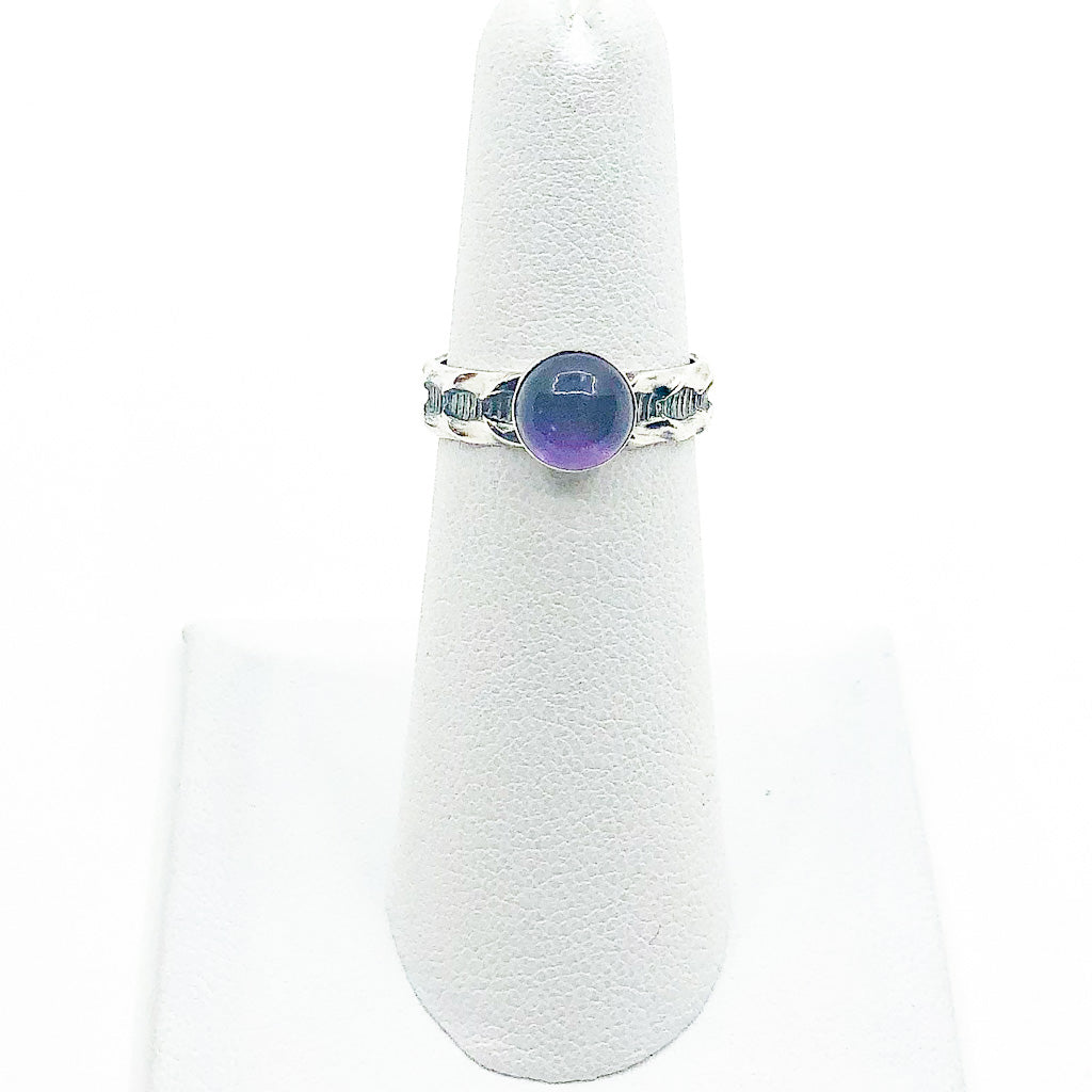 size 5.5 Sterling Amethyst Ring with Faceted Oxidized Band by Berlin Randall